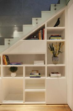60 genius storage ideas for under stairs design inspirations Stairway Storage, Stair Shelves, Storage Shelves, Space Under Stairs, Small House Floor Plans, Pantry Design, House Stairs, Staircase Design, Home Interior Design