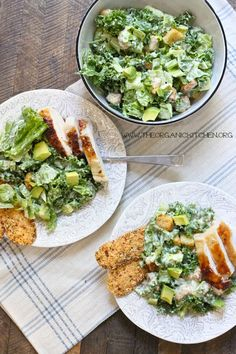 I am in love with this Kale Chicken Caesar Salad. It's a complete meal, takes less than 20 minutes to make and it's healthy: fresh organic greens, high quality protein, and plenty of healthy fats! (This post is sponsored by Chosen Foods!)   Why All The Healthy Fats? The dressing on this Caesar