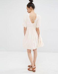 Image 4 ofVero Moda Cross Back Crochet Trim Dress