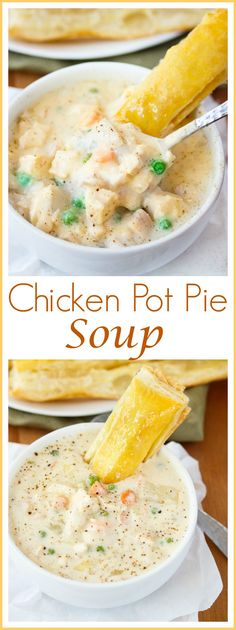 Chicken Pot Pie Soup: This rich and creamy soup encompasses all of the classic flavors of chicken pot pie, and is served with a side of buttery, flaky puff pastry for dipping.