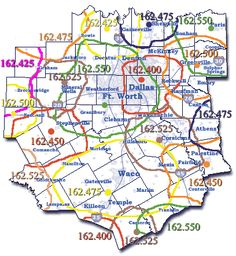 A North Texas county map that shows weather radio coverage areas and frequencies.
