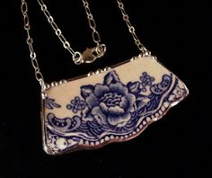 "Blue Transferware Floral Toile Broken china jewelry necklace by Dishfunctional Designs. Joyce Lewis says, ""I wonder how many of us have beautiful broken china pieces that could be made up like this? What a way to preserve something you love."""