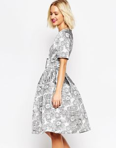 ASOS COLLECTION ASOS Mono Floral Jacquard Belted Midi Prom Dress