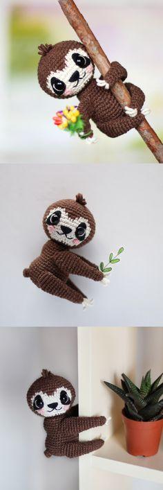 Pattern Crochet Sloth Pdf Amigurumi Toy How Crochet Sloth Stuffed Animal Tutorial Diy Sloth Pattern Pdf Amigurumi Jungle Baby Sloth Sloth Pattern Crochet Sloth, Crochet Dinosaur, Cute Crochet, Crochet Animals, Crochet Dolls, Baby Sloth, Kawaii, Amigurumi Toys, Sewing Basics