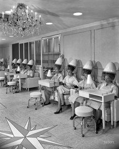 Helena Rubinstein, 655 Fifth Avenue. Hair dryers. Sept. 18, 1961. New York. Photo by Samuel H. Gottscho.
