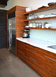 IKEA® Kitchen With Semihandmade Flatsawn Walnut Fronts.