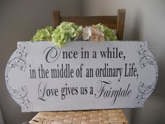 Black and White Elegant Wedding Day sign with Scroll accents..What a Beautiful sign to add to your Wedding Day Decor:). $59.95, via Etsy.