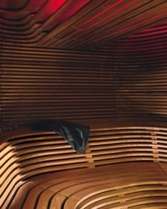 The sumptuous textured sauna was designed by architects, Klafs. Steam Sauna, Steam Bath, Frankfurt Germany, Saunas, Spa Day, Baths, Architects, Paradise, Kid