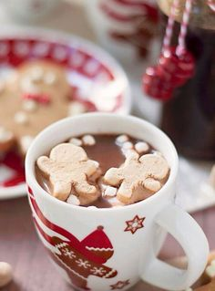 hot coco time that mug is adorable and cant forget those cute gingerbread marshmallows!