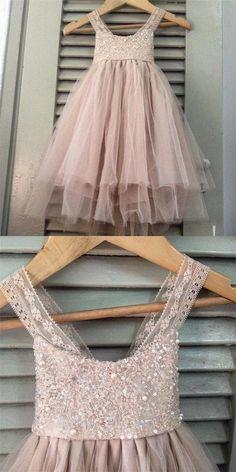 b8fd0f7e4b508 Strap Beaded Sequin Flower Girl Dresses, Top Tulle A-line Flower Girl  Dresses, Lovely Little girl Dresses, TYP0286 from OktypesBridal