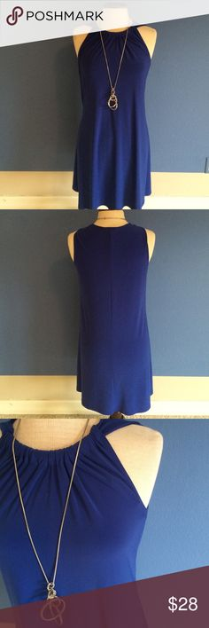 """New ListingMSK Halter Dress Who doesn't love the color blue?  This beautiful dress can be dressed up or down.  Perfect for vacation or weekend getaway.  This dress is not lined. Material:  96% Polyester/4% Spandex. Measurements:  Length - 36""""/Bust - 18.5""""/Waist - 17.5"""" MSK Dresses Midi"""