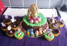 Easter cake with easter cupcakes #easter #minieggs #cupcakes #cakedecorating