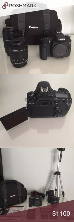 Great condition Canon 70D bundle! Includes:  Canon 70D camera body Canon 18-55 mm lens MSRP 199.99  Canon 55-250 mm lens  MSRP 249.99  Canon camera bag Canon strap in original plastic Canon wall charger 2 Canon batteries  Mini hdmi cable Shotgun microphone  White balance filter  Canon wire to connect to computer Tripod in original box Original 70D manual still in original packaging , DVD tutorial and guide   Only tiny mark on zoom in button. (You can see if you zoom in on my second picture)…