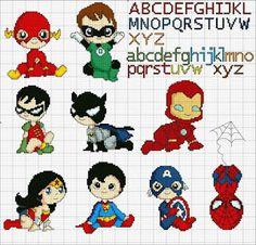Ricami, lavori e centinaia di schemi a punto croce di tutti i tipi, gratis: Cross Stich pattern- Super eroi per i piccoli