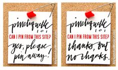 SAFETY PINS - place one on your blog to tell people whether or not they have permission to pin from your site. This way you follow Pinterest Terms and know if you have permission to pin.