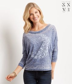 United XXVI Girls Long Sleeve Crescent Burnout Dolman Top - Aéropostale®