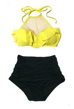 b948033821fe1 Yellow Mesh Top and Black Ruched Rouching High Waist Waisted Highwaisted  Shorts Bottom Swimsuit Bikini Swim