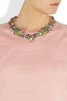 Valentino|Swarovski crystal floral necklace|NET-A-PORTER.COM