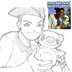 Updating art gallery of FB.  Sketch of one my followers there. #caricature #pokemon #plushie