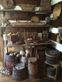 Barrels & wooden bowls to store food for the winter months.