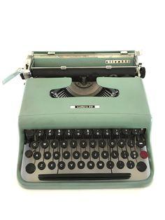 Vintage Olivetti Typewriter Lettera 22 Green Paint by NeatoKeen #vintageoffice