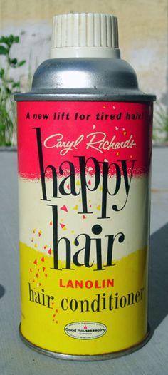 "Retro hairspray, ""happy hair"" lanolin conditioner, from retrogasm.tumblr.com"