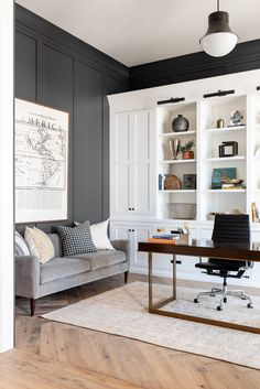 Home Office Décor Inspiration Gray Home Offices, Home Office Space, Home Office Decor, Home Decor, Office Ideas, Dining Room Office, Guest Room Office, Office Interior Design, Office Interiors