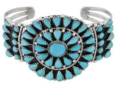 Southwest Style By Jtv(Tm) Blue Kingman Turquoise Sterling Silver Cuff Bracelet