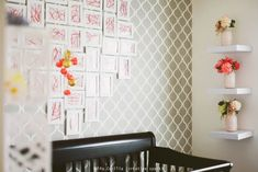 Modern Girl's Nursery with Stenciled Accent Wall - Project Nursery