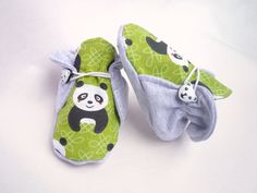 Cool summer baby shoes, toddler shoes, girls slippers, newborn crib shoes, baby booties, 100% cotton, panda bear