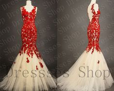 Lace Prom Dresses Red Lace Prom Gown Mermaid Wedding Gown Formal Bridesmaid Evening Dress Custom on Etsy, $269.00