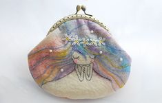 Handmade Coin Purse iPhone Case Clutch and painting by lazydoll