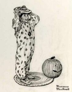 Girl Dressing Up For Halloween   -   Norman Rockwell