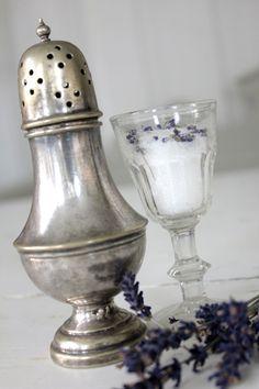 Lavender sugar with an antique sugar shaker.