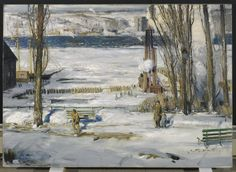 Archival Canvas & Fine Art Prints, Quality Posters, & Framed Reproductions of A Morning Snow, Hudson River, 1910 by George Bellows. Choose the size & framing for your style. River Painting, Street Painting, American Realism, American Artists, Rhode Island, William Glackens, Combat Boxe, Ashcan School, Hudson River