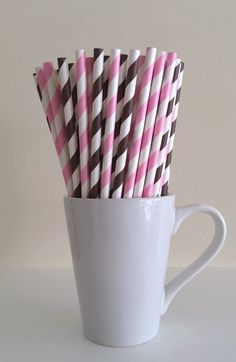 Paper Straws - 25 Light Pink and Brown and White Striped Party Straws Cowgirl Theme Birthday Wedding Bridal Baby Shower Mason Jar Straws