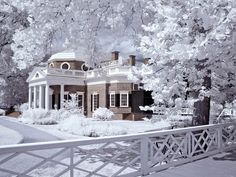 Monticello, home of Thomas Jefferson in Charlottesville Virginia, in infrared