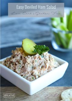 This easy deviled ham salad is my new keto solution to what to do with all this leftover ham! Low carb, paleo, dairy free and delicious! Did I mention easy? Keto Foods, Ketogenic Recipes, Keto Recipes, Cooking Recipes, Keto Snacks, Pork Recipes, Cooking Ideas, Ketogenic Diet, Healthy Snacks