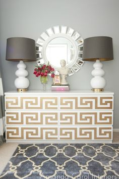 """Ikea Malm Dresser Goes Glam  --  """"A few months ago I ran across this AMAZING product from these uber talented ladies, Danika and Cheryle from O'Verlays.  These gals have created a way to dress up Ikea dressers, nightstands, and tables with lightweight, decorative fret-work panels.""""  This is the Greek Key fret from O'Verlays.  http://www.myoverlays.com/Home.aspx"""