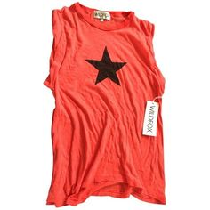 Wild fox Black star t shirt WILDFOX ($145) ❤ liked on Polyvore featuring tops, t-shirts, wildfox t shirts, cotton tee, wildfox tops, star tee and wildfox