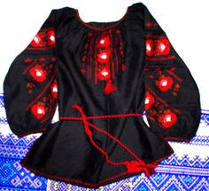 """UKRAINIAN WOMAN'S Black LINEN/FLAX     PEASANT SLAVIC BLOUSE .    """"VYSHYVANKA""""    NEW HANDMADE EMBROIDERED     SIZE S -2XL    Item location - Ukraine  Delivery to U.S. and Canada - 3-4 weeks, to Europe - 10-14 days    Fabric - Linen (Black)    Yarn - Cotton (red, brown)    Completely handmade    Classic women's long sleeve embroidery done on black linen.    Floral ornament, which embellished lace.    Very fine work done in the classic cross red and black colors.    Brand new never used…"""