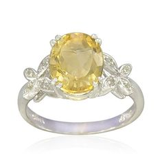 Sterling Silver 8X10mm Oval-Shaped Citrine Ring -