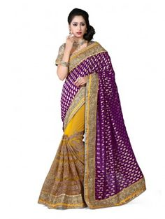 Purple and Yellow Net Saree with Stone Work