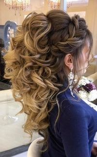 Стрижки# hair, quinceanera hairstyles и prom hair. Quince Hairstyles, Bride Hairstyles, Pretty Hairstyles, Wedding Hairstyles For Curly Hair, Hairstyles For Weddings, Volume Hairstyles, Country Wedding Hairstyles, Hairstyles 2018, Hairstyle Ideas