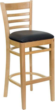 Natural w/ Black Padded Seat Ladder Back