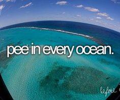 HAHA bucket list -- pee in every ocean