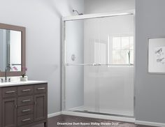 The DreamLine Duet sliding bypass shower door with its sleek, elegant design will complement both classic and modern bathroom decors. The Duet is a double sliding bypass configuration which allows entry to the shower from left or right side. The Duet features specially designed rollers which create a smooth, quiet gliding operation and two convenient towel bars. There is no better value for the money, choose the Duet Shower Door from DreamLine today! Modern Bathroom Decor, Bathroom Styling, Bathroom Ideas, Dreamline Shower, Shower Sliding Glass Door, Upcycled Home Decor, Room Ideas Bedroom, Traditional Bathroom, Towel Bars