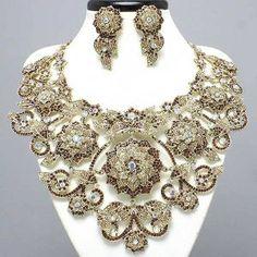 gold floral necklaces | Gold Topaz Large Crystal Flower Necklace Set Edit review | buy, shop ...