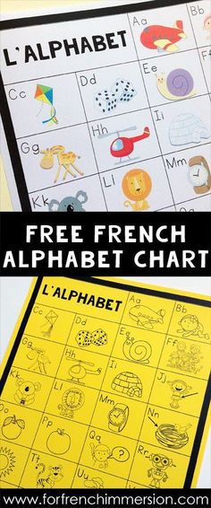 FREE French Alphabet Chart: students can keep the B&W version in their writing folders and the teacher can also print the color version to be used as a classroom poster! A French teacher's must-have tool :) French Teacher, Teaching French, Teaching Spanish, Teaching Reading, Teaching Resources, French Alphabet, French Flashcards, Writing Folders, Alphabet Charts