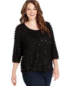 Elementz Plus Size Top, Three-Quarter-Sleeve Ruffle Sequin - Plus Size Tops - Plus Sizes - Macy's
